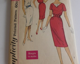Vintage Simplicity Pattern 3433 Junior Size 13 Sheath Dress
