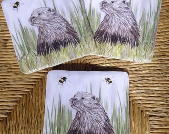 Otter and bumblebee coaster - otter coaster - bee coaster - hand crafted high quality otter gift - handmade ceramic coasters
