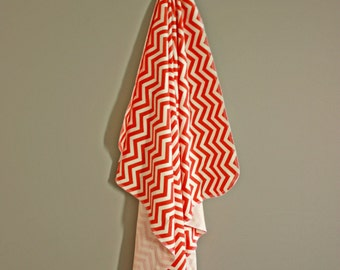 Organic Cotton Knit Chevron Baby Blanket in Coral