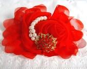 Barrette - French Barrette - Red Flower Barrette - Red Flower French Barrette - Chiffon Flower - Red Chiffon Flower - Bling Flower Barrette