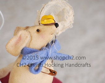 Whimisical Handmade Mouse, Mouse Butterfly Catcher, Whimsical Mice