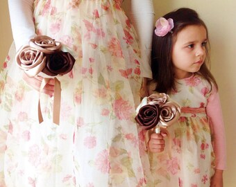 Set of 2 fabric flower bouquets, Satin roses bouquet, flower girl bouquets, bridesmaid's bouquets, gold, ivory & brown bouquet, toss bouquet