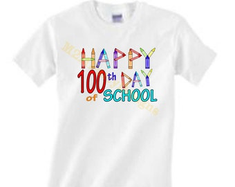 100th Day of School, Iron on Transfer, Instant Download, Digital Image. Instant Download DIY