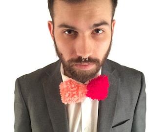 NEW Handmade Red & Salmon Yarn Bow Tie // Clip-on // OOAK
