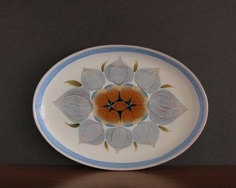 Vintage Denby Chatsworth Oval Platter - Denby England Oval Serving Platter - Medium Platter - Handpainted Denby Serving Dish - 1970s Denby