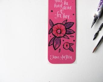 Pride and Prejudice pink bookmark, Jane Austen - Her heart did whisper