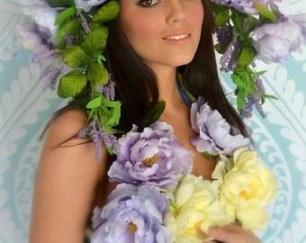 Wisteria,floral,LARGE,crown,headpiece,purple,Hat,Headdress,Blooms,garden,high fashion,floral headpiece, headdress,DERBY