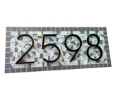 Mosaic Address Sign, Beach House Grays and Blues