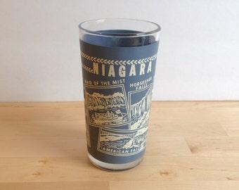Vintage Niagara Falls Glass - Souvenir Cup - Blue and White
