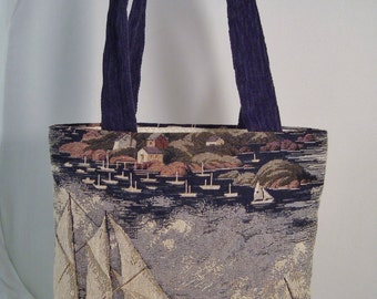 New England Maritime Nautical Tapestry Fully-Lined Open Tote with Interior Pockets