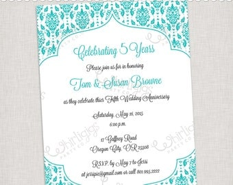 5th Anniversary in Turquoise Printable Invitation  - Printable Digital File or Printed Invitations with Envelopes - FREE SHIPPING