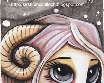 ZODIAC painting ARIES girl with big grey eyes + pink hair -  a thoughtful unique gift idea SHIPPING included