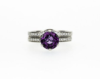 Engagement ring set, Amethyst engagement, diamond wedding ring, solitaire, curved wedding band, Purple, unique engagement, rose gold ring