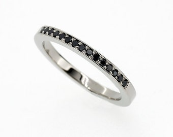 Black diamond half eternity wedding band made from platinum, black wedding, diamond wedding band, gothic wedding ring, thin platinum band