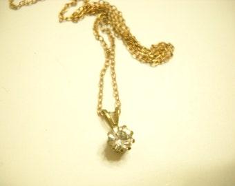 Vintage Gold Tone Rhinestone Pendant Necklace (4639)