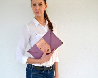 Purple leather clutch with genuine pink snakeskin / Handmade leather bag