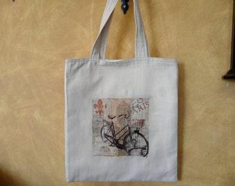 Bicycle Tote Bag, Bike Tote, Canvas Tote Bag, Grocery Bag, Bicycle Design Bag, Carry All Bag, Farmers Market Tote