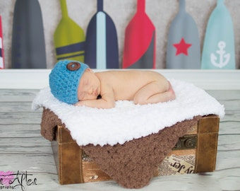 Baby Boy Hat Newborn Baby Hat Newborn Hat Newborn Photo Prop Baby Boy Clothes Cornflower Blue Baby Hat Wood Button Beanie Baby Shower Gift