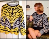 80's Bold Yellow Abstract Animal Jacquard Print Sweater with Lurex Silver Zebra Detail