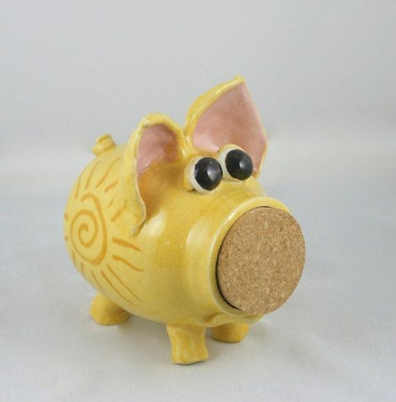 Sunny the yellow ceramic piggy bank hand thrown handmade for Handmade coin bank