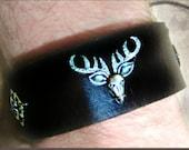 Stag Cuff, Cernunos Leather Wrist Band, Choose Style