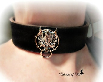 Fenrir Wolf Black Leather Choker