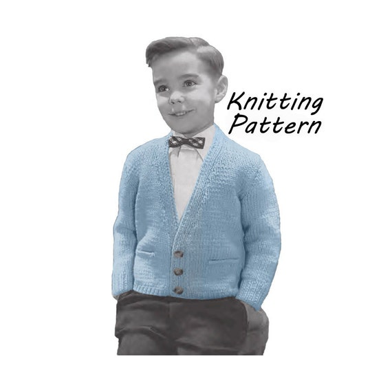 Boy Sweater Knitting Pattern : Boys Cardigan Sweater Knitting Pattern Sz 4 6 8 10 12