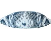 Designer Decorative Pillow Cover in Kravet Sapphire Blue Ikat on Both Sides