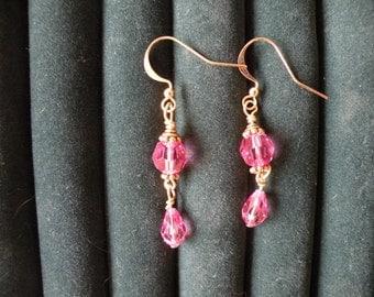 Aurelia's Gold Fish Hook  and Rose Swarovski Crystal Earrings