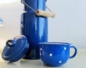 Vintage Blue Enamel Milk Pot and his blue Teacup with white dots