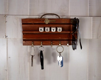 Wood Key Rack Holder Rustic Architectural Salvage Vintage Hardware
