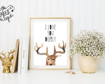 INSTANT DOWNLOAD, I Love You Deerly, Deer, Anniversary, Hunter, Watercolor, No. 401