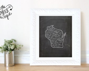 INSTANT DOWNLOAD, Wisconsin State Chalkboard Printable, No. 219