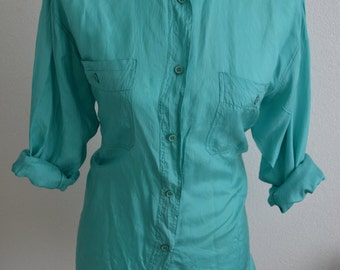 Vintage 100% silk teal turquoise blouse shirt unisex