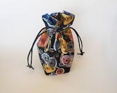 Drawstring Makeup Bag - Coins & Lanterns - Japanese Fabric - Asian Fabric - Makeup Pouch - Small Bag - Cosmetic Bag - Adorable Jewelry Bag
