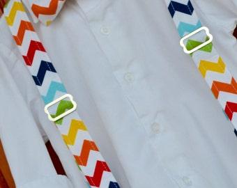 Rainbow Chevron Bowtie & Suspenders, Rainbow Chevron, Rainbow suspenders, Rainbow bowtie, Rainbow Brite Suspenders, Bright Chevron Bowtie