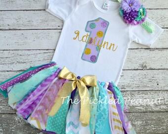 Mermaid Under the Sea 1st First Birthday 2nd Birthday Outfit Gold Purple Mint Aqua Fabric Tutu Baby Tutu Glitter Sparkle Cake Smash Skirt