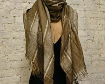 80s Neutral Toned Wool Fringe Scarf