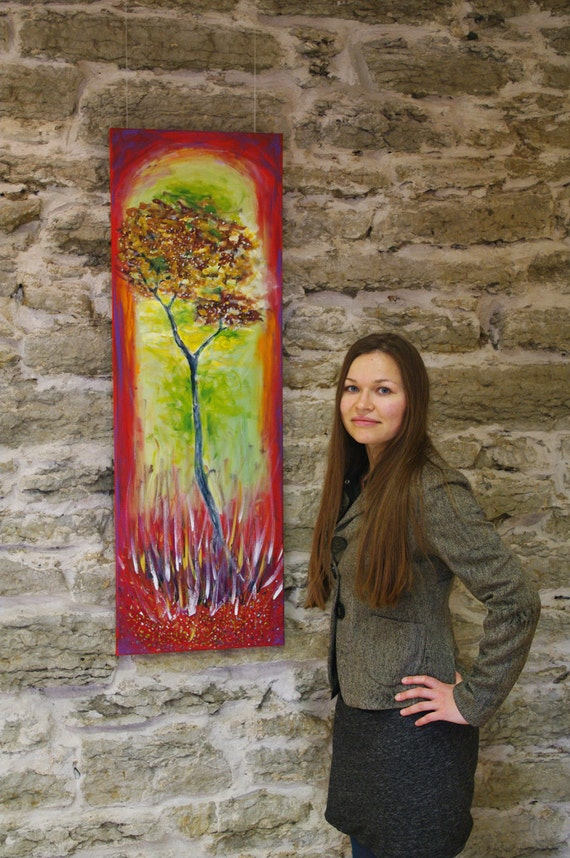 Canvas wall art Vertical wall art with red green Long painting Canvas painting tree Vertical painting Long canvas Large abstract painting