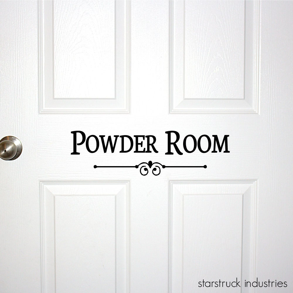 Powder room door or wall decal decorative powder room sign for Powder room door size