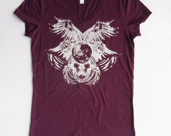 Lunar Owls - Printed in Pale Ivory Gray on a Plum V-neck Bella 100% Cotton Slim Fit T-Shirt