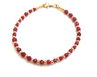 14 K solid gold beads genuine natural ruby gemstone beads bracelet luxury dainty elegant handmade bracelet