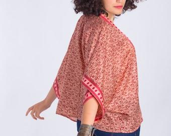 Silk Kimono Jacket with Floral Print from vintage Indian sari,Silk Kimono robe,Bridal shower,Floral kimono,Beach cover up,Summer clothes