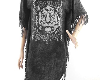 Tiger Tshirt Maxi Dress animal tshirt women tshirt bleached tshirt black shirt (Measurements - fits great from S - M)