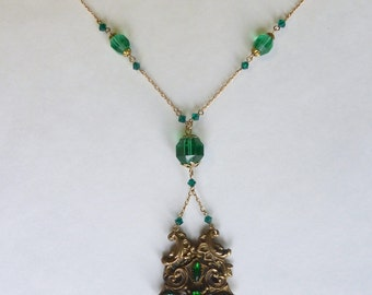 Repurposed Vintage 14K Gold Filled Long Buckle and Emerald Green Glass Bead Necklace