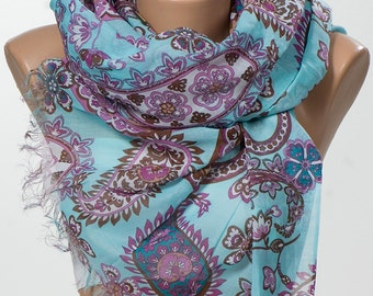 Turquoise and pink and brown Long Paisley Scarf. Valentine Neck wrap. Valentine's Scarf. Spring scarf for her. NEW SEASON.