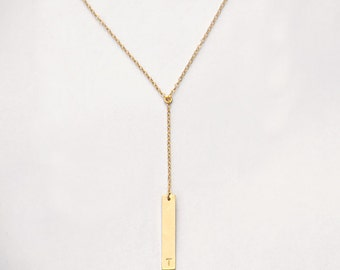 Delicate Y Necklace, Personalized Vertical Bar Necklace, Available in Rose Gold, Yellow Gold or sterling silver, Custom handstamped initial