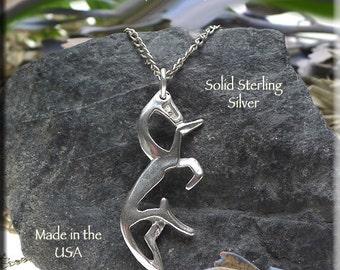 Celtic Horse Pendant, White Horse of Uffington Necklace, .925 Silver Epona Equestrian Jewelry, Celtic Jewelry - SE-1476