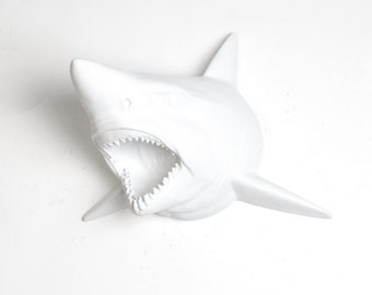 OVERSTOCK SALE - White Faux Taxidermy Shark in Neon Yellow