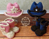 Baby Cowboy Hat and Boots - Twin Set - Pink - Blue